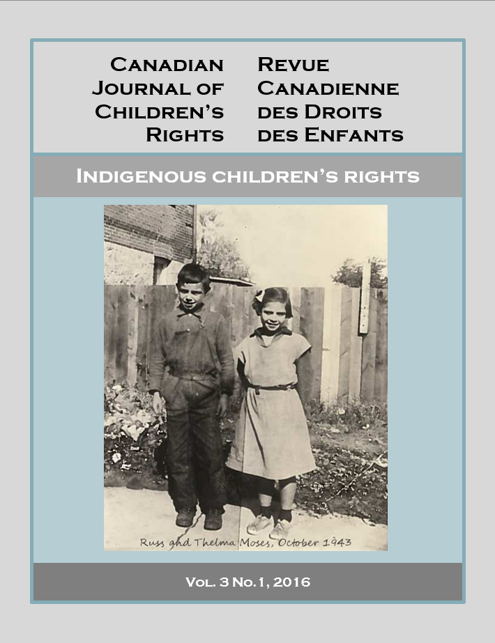 Cover image - Canadian Journal of Children's Rights